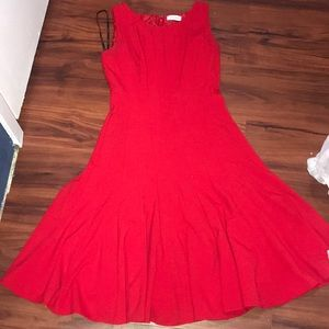 Size 4 Red Midi Calvin Klein A Line Dress